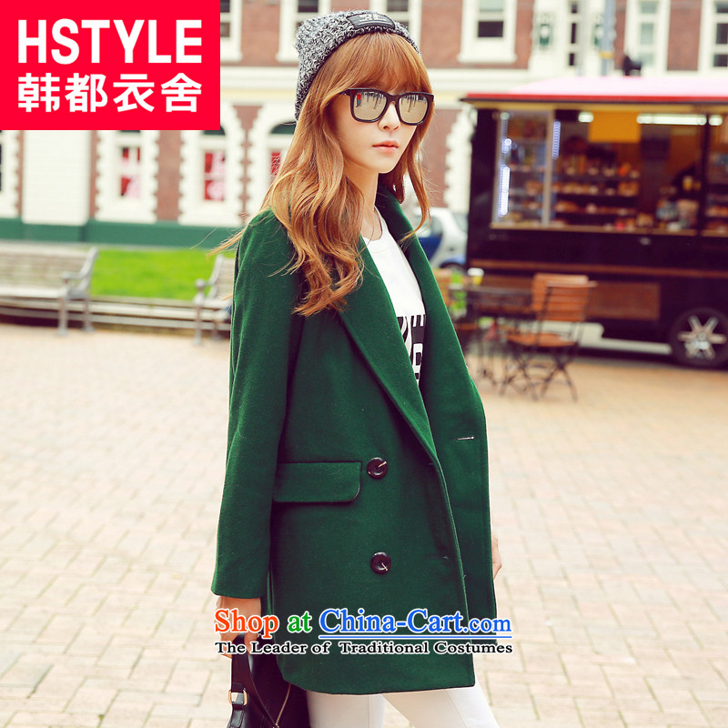 Korea has the Korean version of the Dag Hammarskjöld yi 2015 winter clothing new women's solid color lapel loose video thin hair?(6) Green Jacket MR5902 M