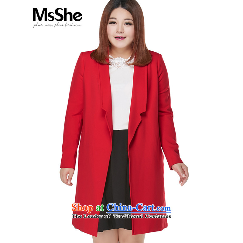 Msshe extra women 2015 new autumn and winter thick MM Stylish coat jacket in Korean long to the level of 10335 Red4XL