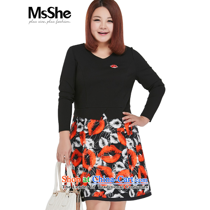 Msshe xl women 2015 new stamp pack stitching autumn Sau San long-sleeved dresses 200 catties 3XL receded black Safflower