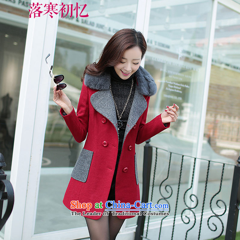 Recalling the Early Cold Fall 2015 autumn and winter coats new wool? female thick cotton folder gross Neck Jacket XL CY15115 cherry red燣