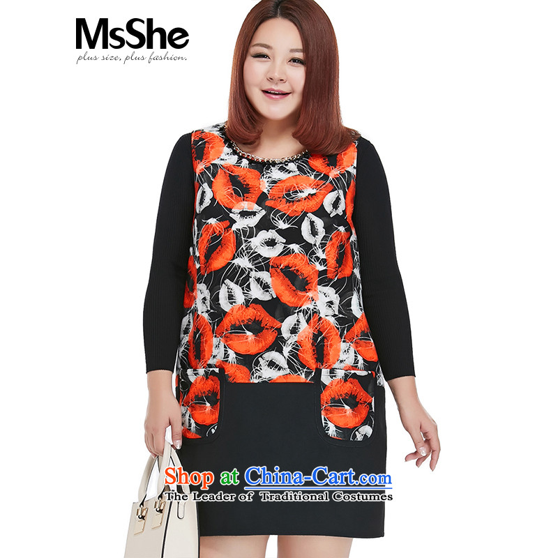 Msshe xl women 2015 new autumn and winter flower stamp forming the MM thick vest dresses 10286 BlackXL offset most of the Code Red Flower