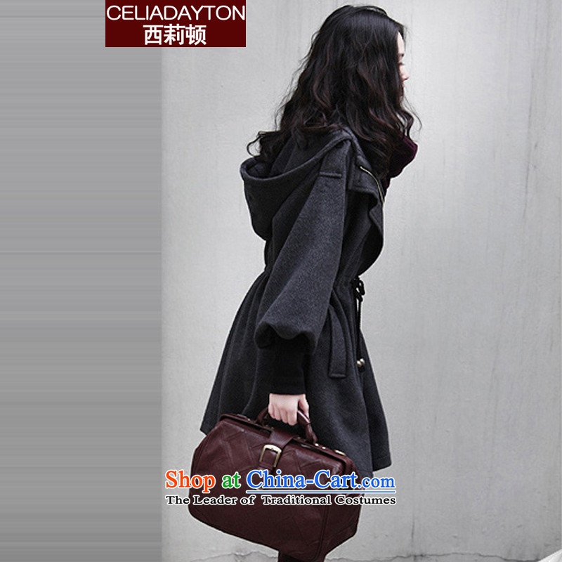 Szili Clinton 2015 Fall_Winter Collections of the new code for women in the ventricular hypertrophy long coats thick mm sister cashmere Sau San video thin Cap 200 Jin Mao jacket? gray cotton?XL recommendations 135-150 plus catty