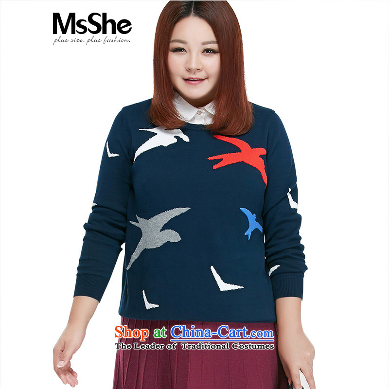 Large numbers of female msshe replace 2015 new fall thick MM long-sleeved pattern with warm sweater pullovers 4573 Blue 4XL