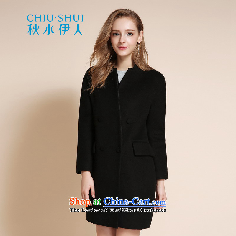 Chaplain who 2015 winter clothing new women's stylish ultra-pure color graphics in wild thin long hair black overcoat�5_80A_S?
