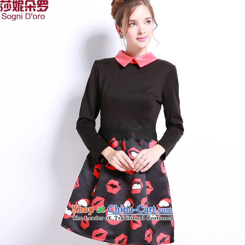 Luo Shani flower code dresses fall thick mm fall to replace xl thick, Hin thin, 13235 Black 4XL