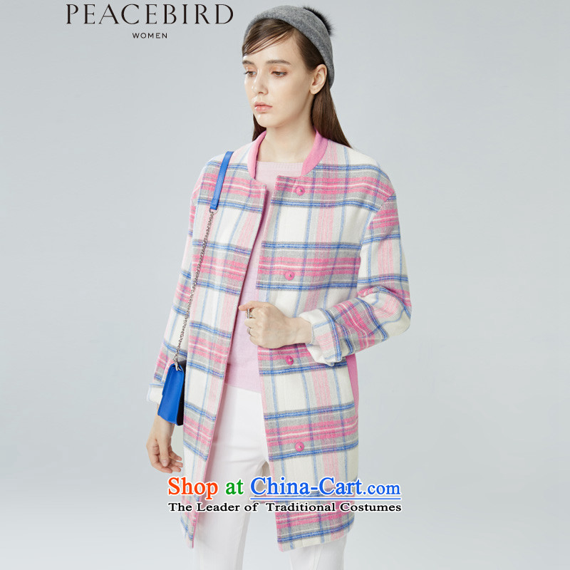 - New shining peacebird Women's Health 2015 winter clothing new products collar plaid coats A4AA54207 color plaid L