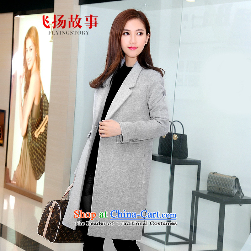 The story about 198 gross 2015 autumn and winter coats female new woolen coat female Korean version of pure colors in the Sau San long winter coats of thick?? jacket women temperament gross gray XL