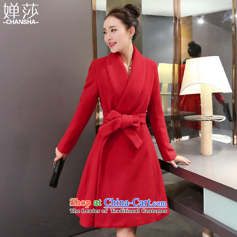 Vacuum foil is Windsor jacket women 2015 winter new products in the women's long Korean thick hair? coats, wool Sau San a wool coat female red L