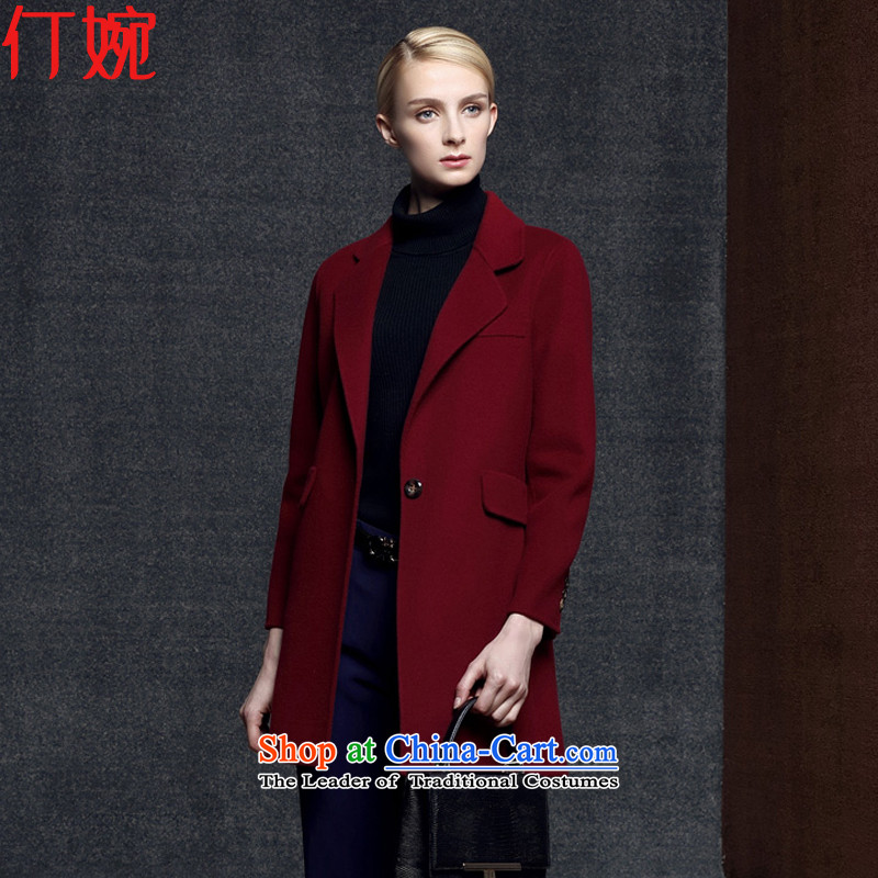 The suspension of the autumn and winter 2015 Yuen new Korean girl in Sau San woolen coat long double-sided gross jacket coat? female cashmere overcoat jacket 1459 Red燣