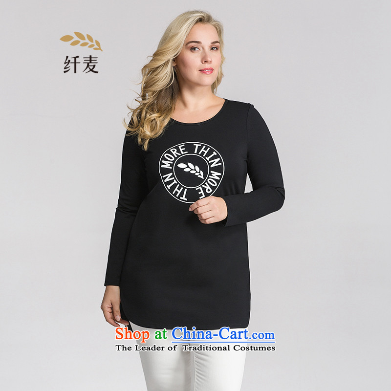 The former Yugoslavia Migdal Code women 2015 Autumn replacing new stylish black mm thick anterior stamp long-sleeved T-shirt black3XL 953151375