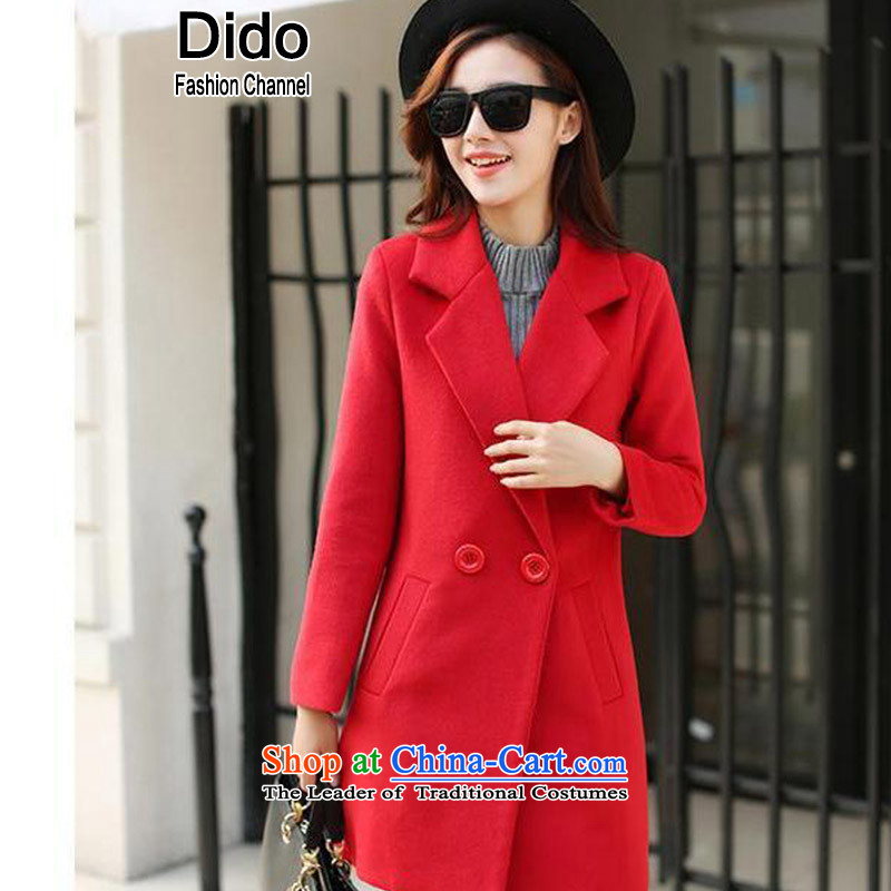 Dido gross? large jacket coat female thick female Korean pure color in the medium to long term, a wool coat female red燲L