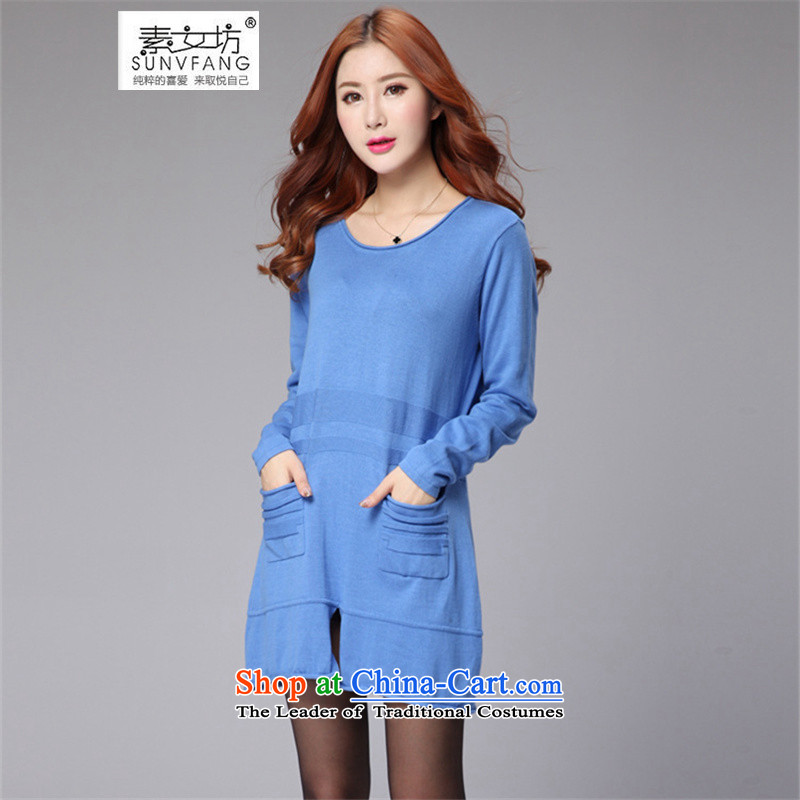 Motome square thick sister larger lady knitted dresses autumn 2015 new) thick MM video thin woolen pullover, forming the skirt the skirt 671 BLUE 3XL recommended weight 140-160 characters catty