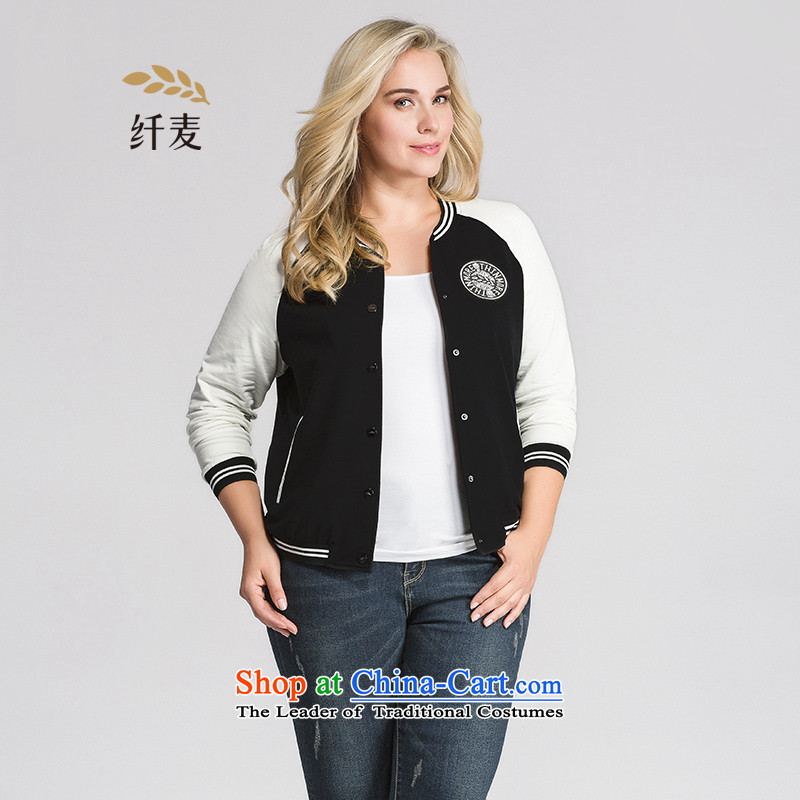 The former Yugoslavia mecca for larger women 2015 Autumn new stylish black-and-white_ thick mm long-sleeved jacket�3047545 knocked牋3XL black