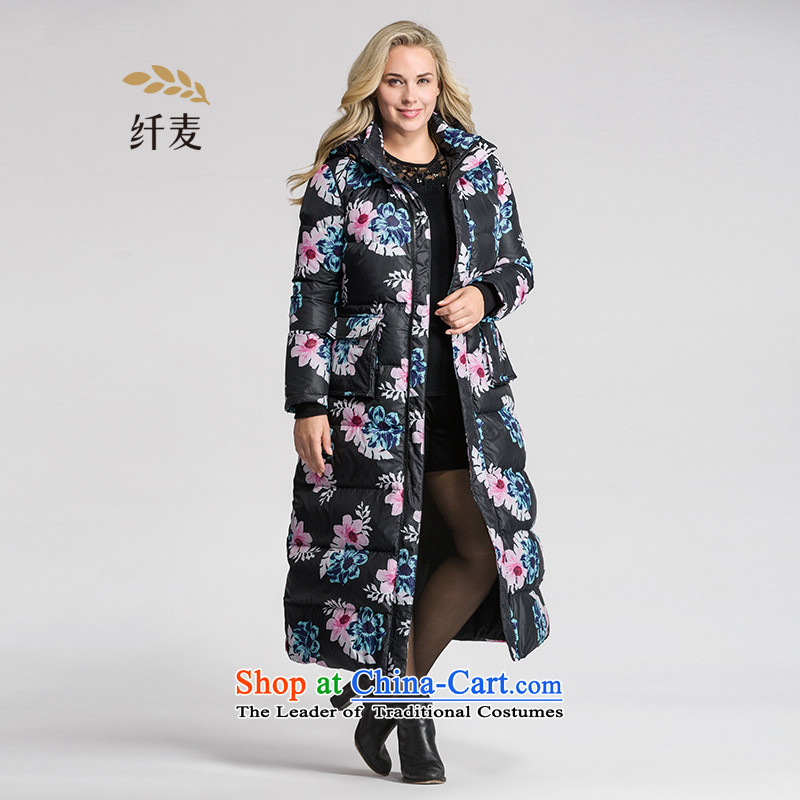 The former Yugoslavia mecca for larger women 2015 winter clothing new fat mm long-color printing, knocked down jacket 954121394 female black 6XL Safflower