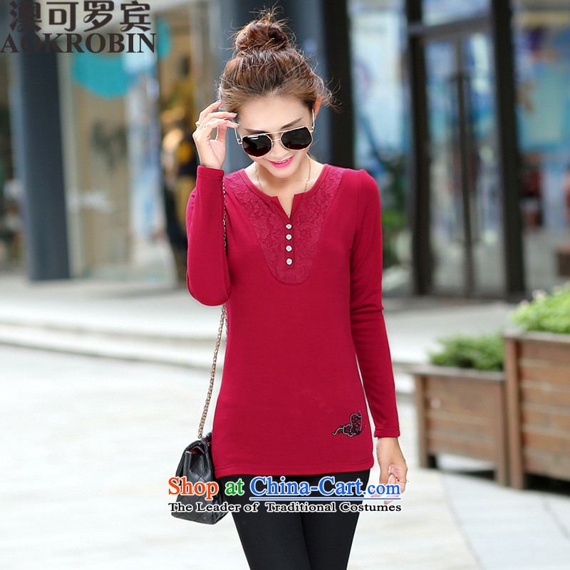 O to large Robin T-shirts, forming the long-sleeved shirt autumn relaxd the lint-free wine red 06303 XL( recommendations 105-120 catties)