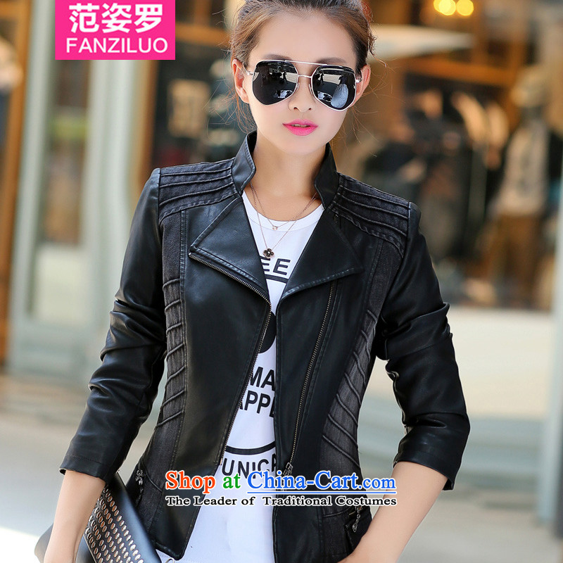 Mrs Lo 2015 to Gigi Lai xl female thick mm Mount leather jacket autumn jacket thick sister 200 catties early winter Korean president jacket 4XL_ black paragraphs 165-175 under the burden of recommendations_