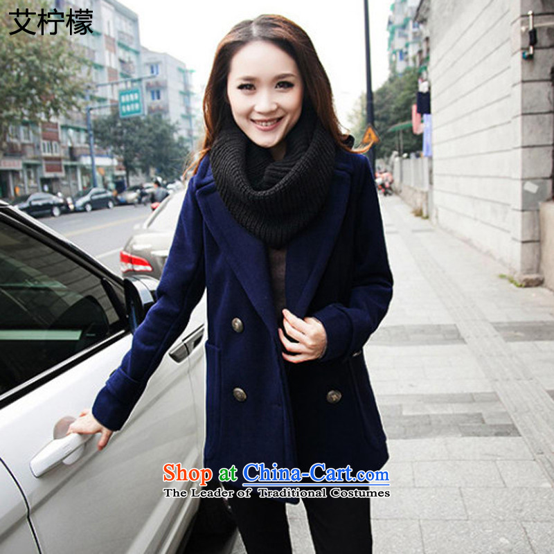 Hiv lemon autumn and winter 2015 loaded on the new large wind jacket to increase women's code thick mm thin hair? jacket graphics thick sister large a wool coat 5XL. large dark blue