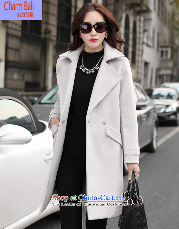 2015 Fall_Winter Collections Korean trendy suits for Sau San normal gross jacket coat? female beige M