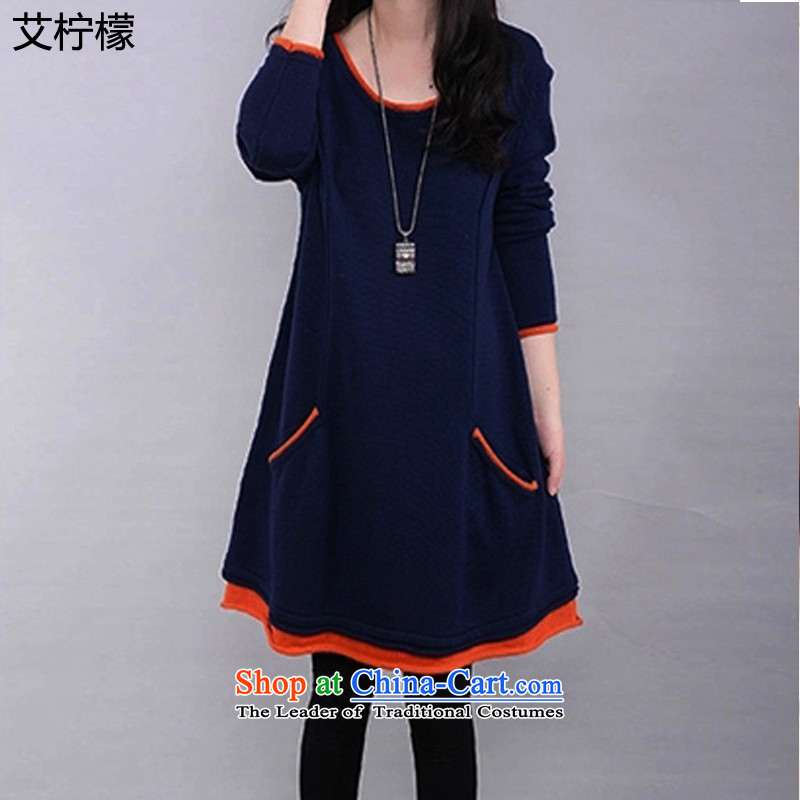 Hiv lemon autumn and winter 2015 on new to increase women's code thick mm winter clothing dresses cotton lint-free thick video and slender Plus_, forming the Netherlands Female dress code XXXXL. large dark blue