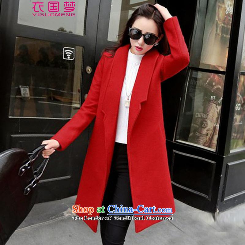 Yi power dream girl 2015 Autumn coat? for women for winter new Korean version in long hair Sau San? female 220 red jacketM