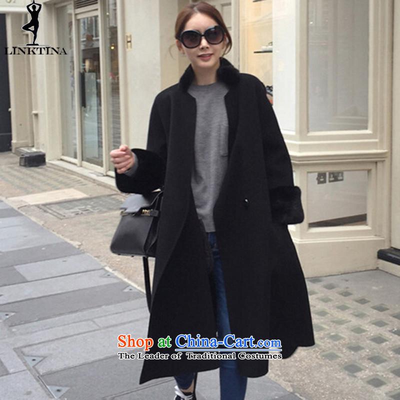 Long_? coats LINKTINA female Western Wind autumn and winter new plus fluff? female coats thick a wool coat燣1286 female燽lack plus lint-free燬