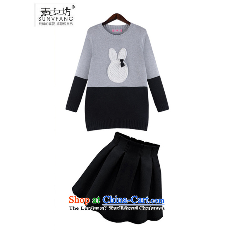 Motome workshop for larger female thick sister Kit�15 Fall_Winter Collections of New Large Western woolen pullover rabbit ears + bon bon skirt Kit 669 sweater with black skirt�L爎ecommended weight 140-160 characters catty