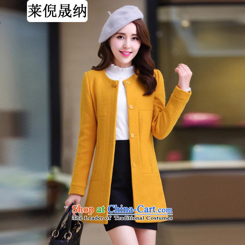 Mr NGAI Shiu-shing, Blair 2015 autumn and winter new gross? female xl in coat long wool Sau San a wool coat female Yellow燲L