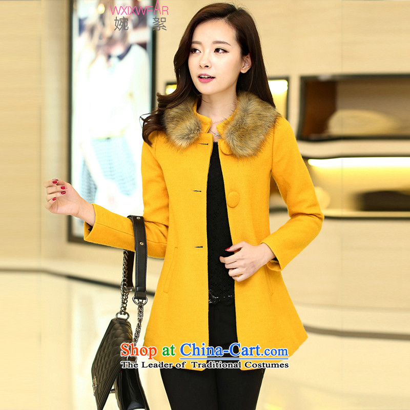 Yuen wadding燼utumn and winter 2015 gross overcoats girl Won? for the graphics in the Sau San long thin lapel a wool coat wind Yellow燤