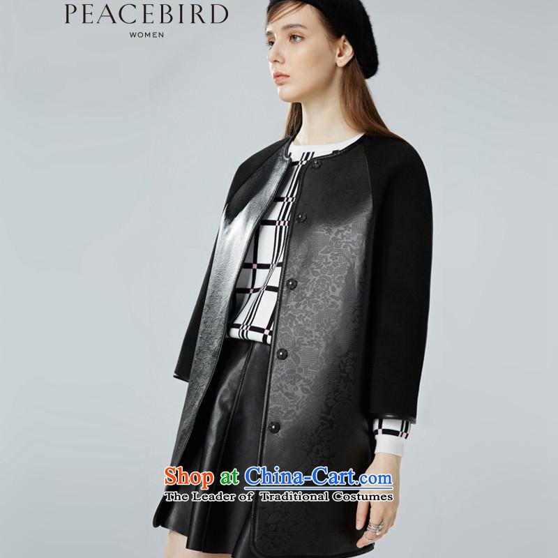 - New shining peacebird Women's Health 2015 new products for winter coats A4AA54358 split black燣