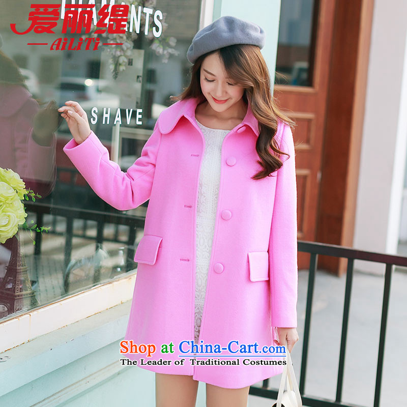 Christy Love 2015 Autumn replacing the new Korean version of Sau San a wool coat hooks in Long Hair Girl D2911 coat of what RED燤