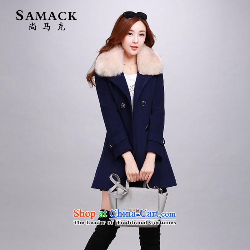 Women's gross be SAMACK coats that long won warm winter version Sau San? topper with Ms. Nagymaros collar windbreaker-of-season navy M