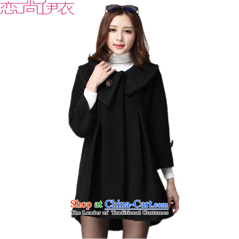 2015 to increase the number of female new Fall_Winter Collections thick mm sister warm jacket coat? Relax gross A swing loose video thin dolls wear black 6XL approximately 180-200 catty