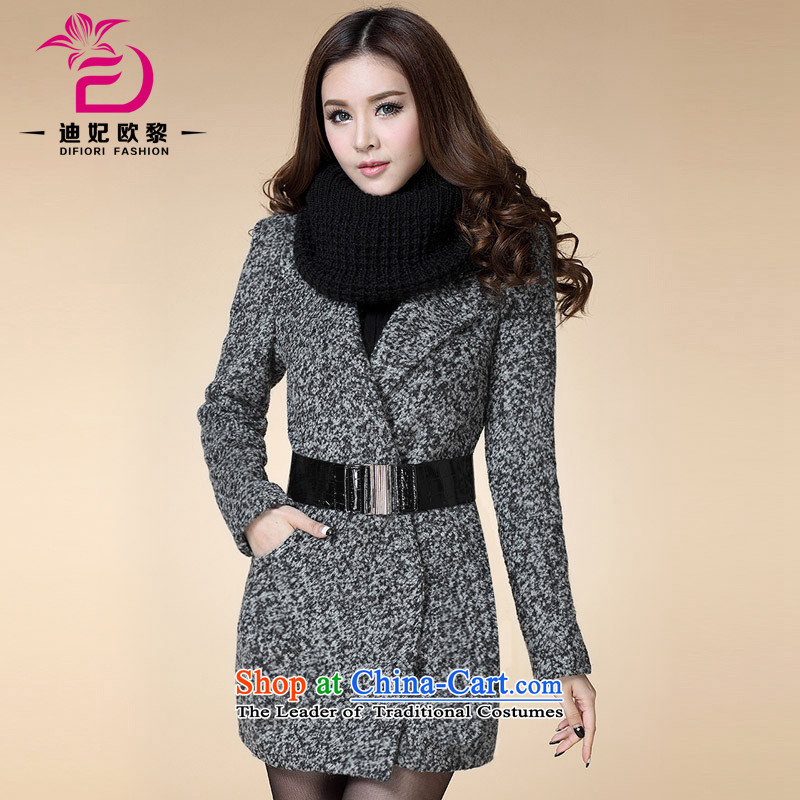 Deere Princess OSCE Lai 2015 winter in new women's long_? sub jacket Korean Thin Dark deduction of Sau San video female hair? coats DF3109 gray and black燣