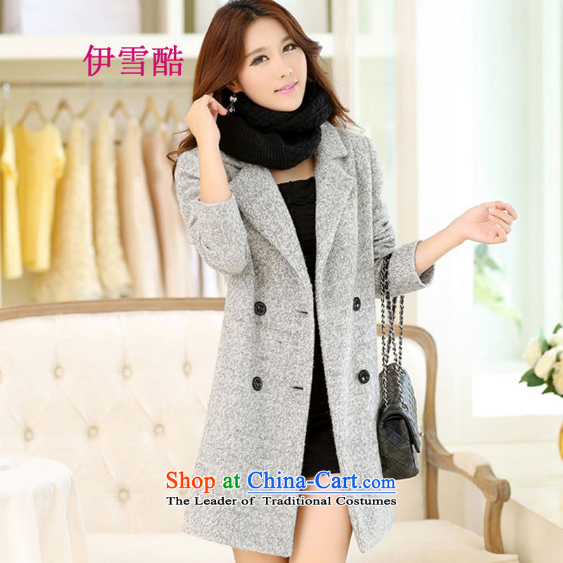 The Korean version of snow core 2015 autumn and winter in new long lapel a jacket Connie gross a wool coat female gray聽XL
