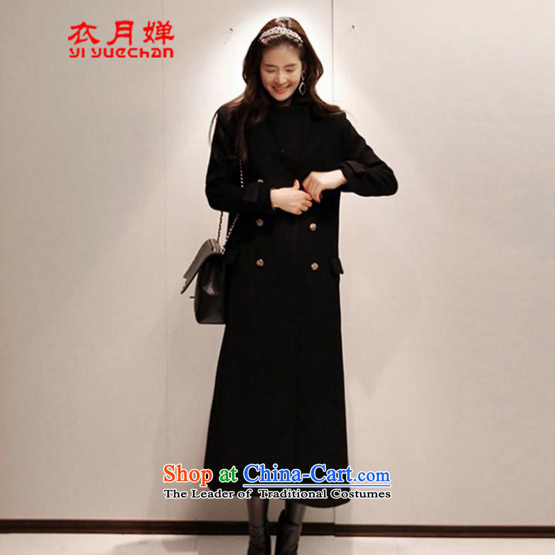 Vacuum on yi 2015 autumn and winter new Korean female Sau San double-coats stylish girl gross? graphics in the thin long ago jacket coat female hair black M