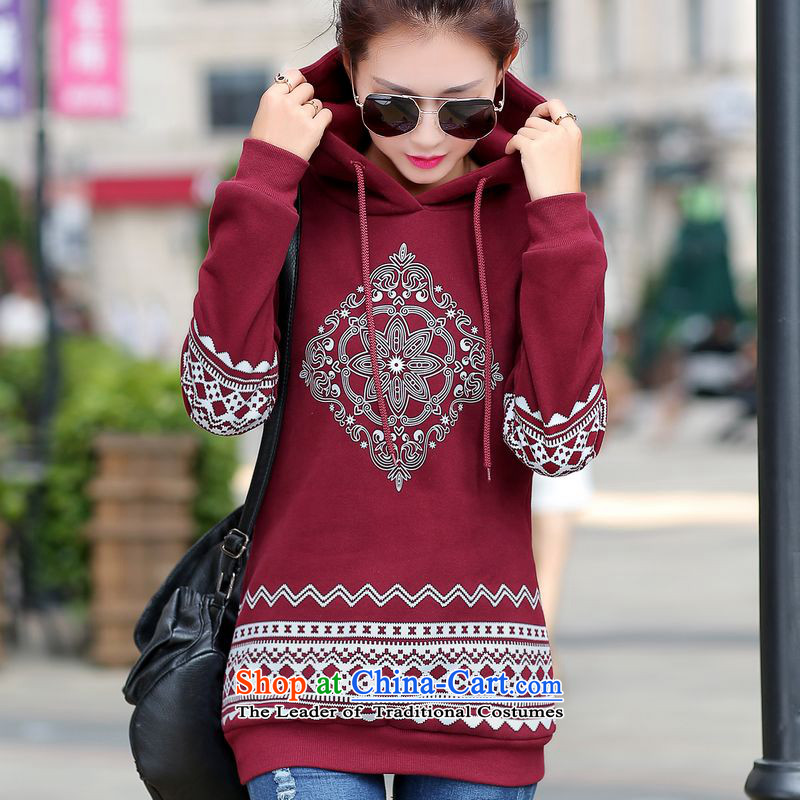 Hung Kehl plus obesity mm200 catty to increase women's code load autumn 2015 MM thick thick sister Autumn and Winter Sweater kit head thick woolen sweater knit sweater wine red?XL( recommendations seriously) . . . . . . .