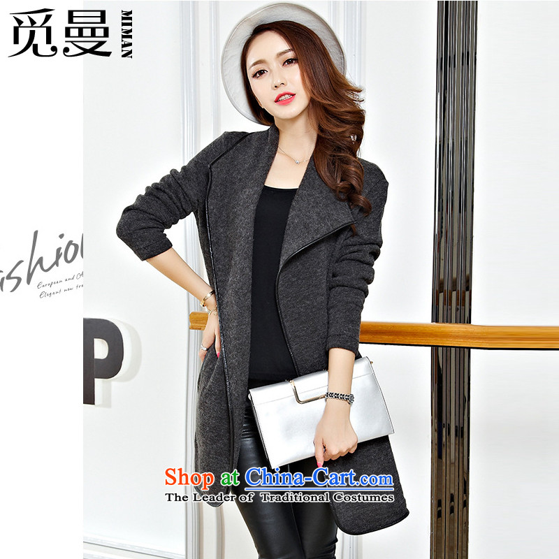 Find large Cayman Women�15 autumn and winter new Korean L-5xl Sau San display long wool textile frock overcoat so gross gray jacket�L