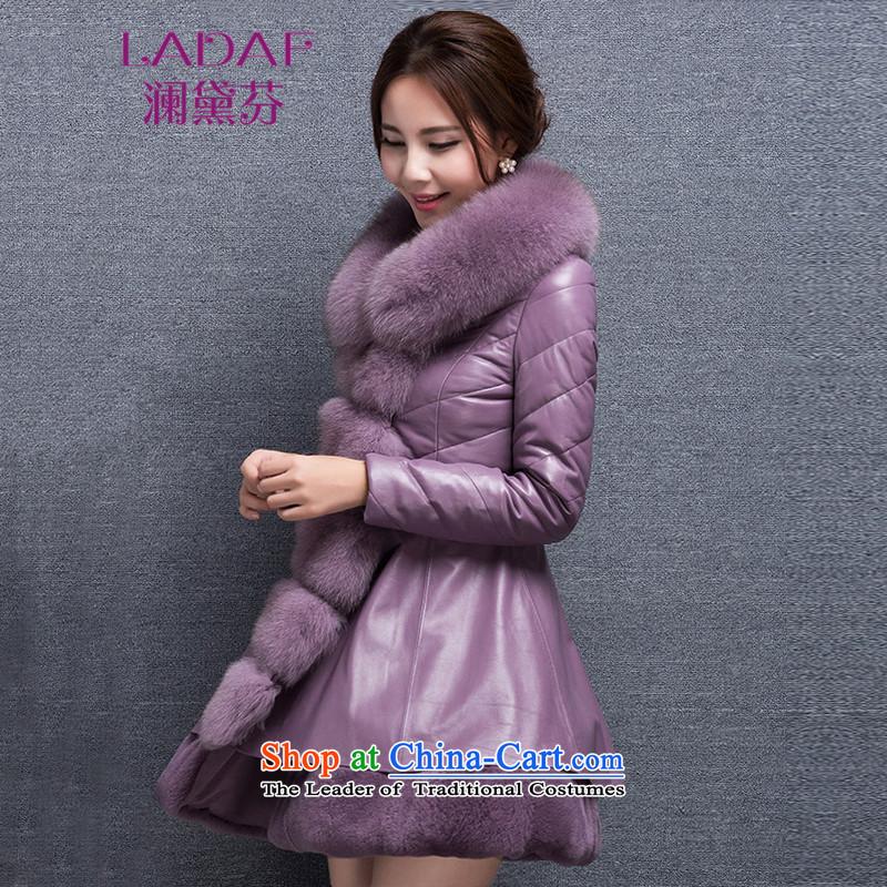 The World 2015 autumn and winter fun Doi new leather garments fox fur feather unit gross girls serving long fur coat 6719 purple L