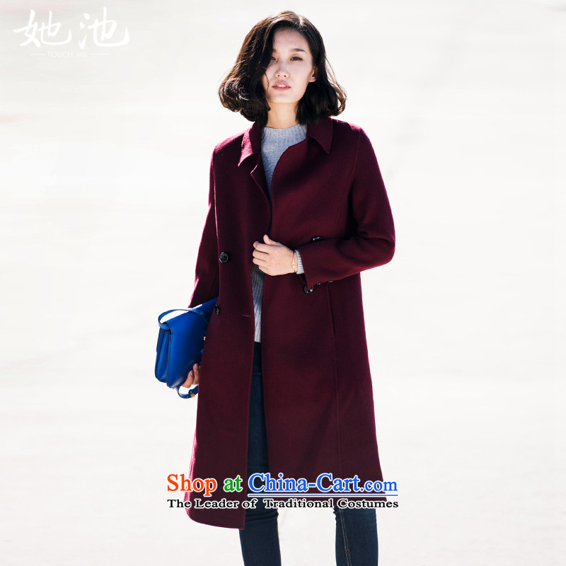 She Pool2015 Autumn new for women pure color wild reverse collar double row is long woolen coat T54059 wine redM