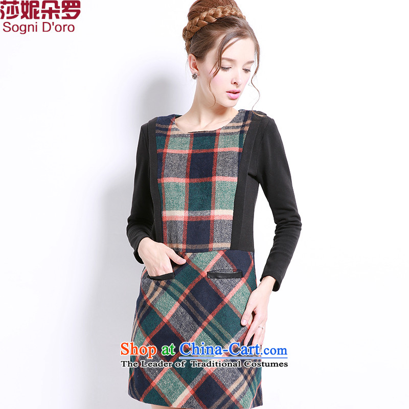 Shani flower, thick girls' graphics, large it thin-dresses mm thick winter clothing to increase female 13236 Black聽4XL