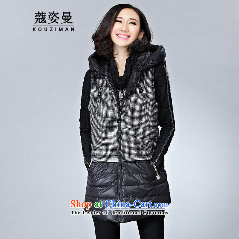 Gigi Lai Cayman large Coe female ãþòâ winter waistcoat 2015 new product expertise mm thick, Hin thin sister Korean girl in Algeria cotton coat long jacket, black  2XL
