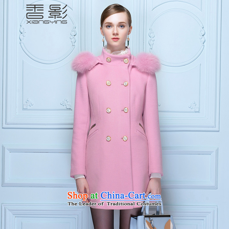 In the long jacket, Female Heung Ying 2015 winter clothing New Sau San zipper double-gross? long-sleeved coats of solid color pink燤