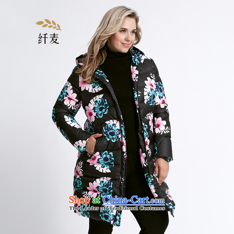 The former Yugoslavia Migdal Code women 2015 winter clothing new mm thick-color printing in long knocked down jacket 954121393) Black 6XL Safflower