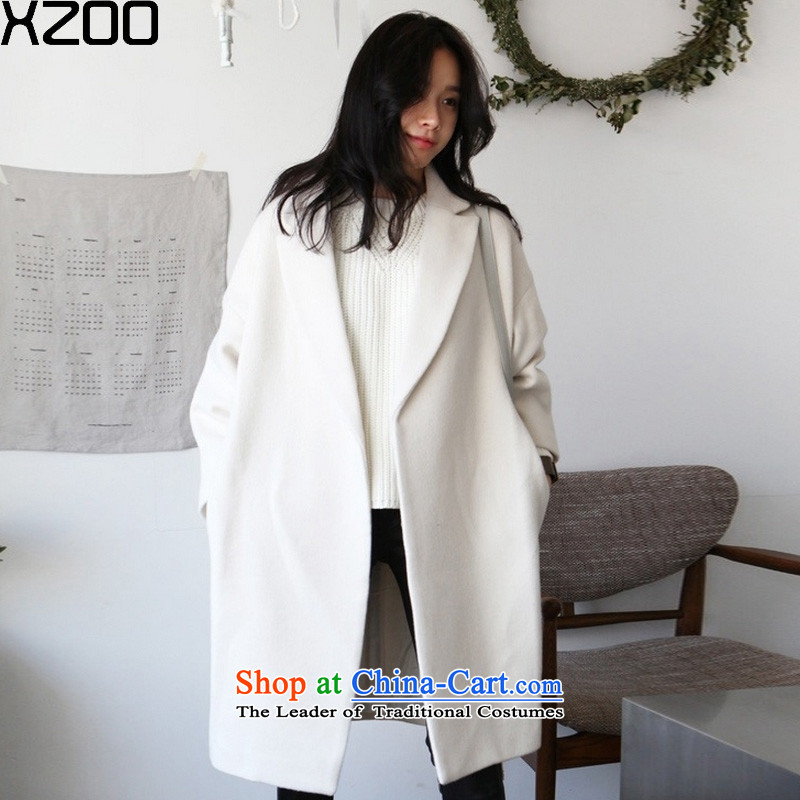 Gross coats women XZOO2015? winter new women in Korean long strap a jacket Girl爏 cream