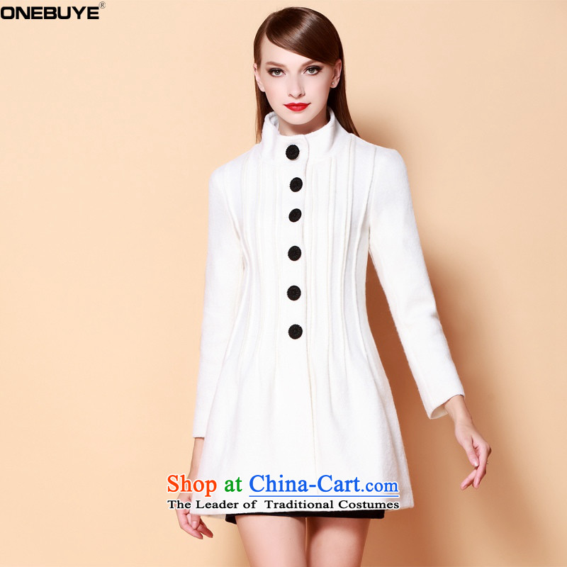 Onebuyepure color autumn and winter Sau San video thin collar single row is long hair white jacket coat?M