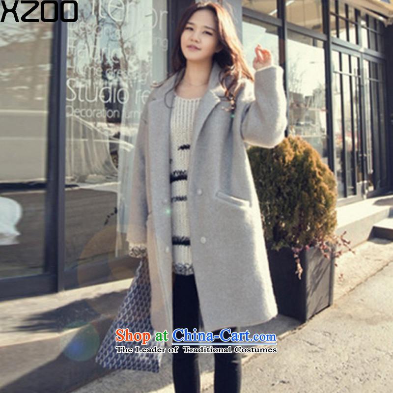 Gross coats women XZOO2015? jacket korea long version? Boxed children wool winter new gray S