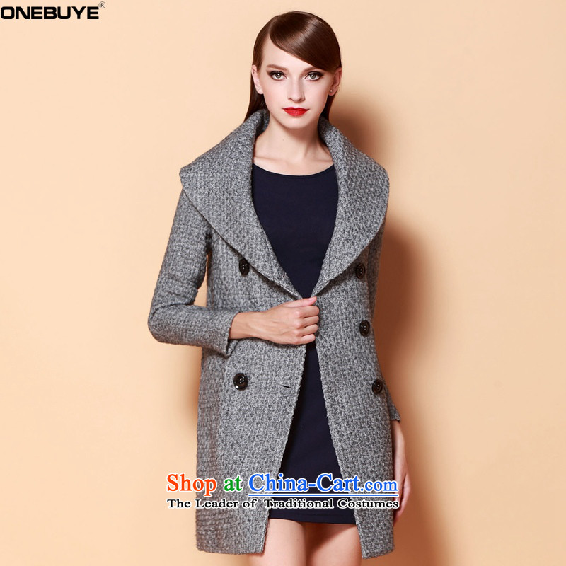 ?Maximum reverse collar name ONEBUYE Yuan wind, double-temperament and Stylish coat jacket gray hair??M