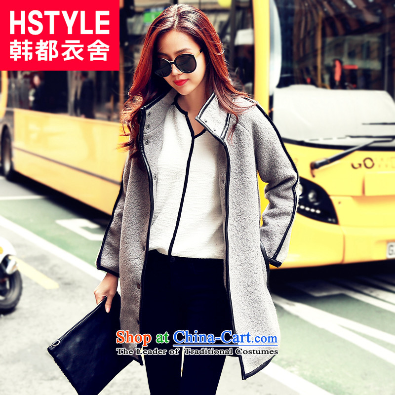 Korea has the Korean version of the Dag Hammarskjöld yi 2015 winter clothing new women's side of the stitching rotator cuff-jacket OI5039 gross? restaurant gray S