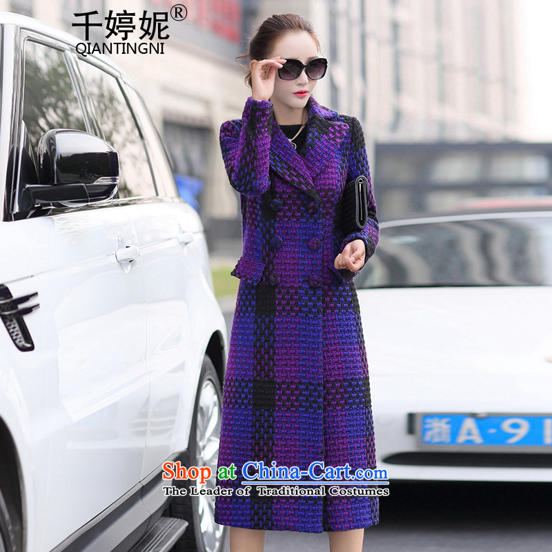 Chin-ting Connie 2015 autumn and winter new ladies hair? Jacket Korean Modern graphics thin-long lapel single row clip hair? a jacket coat female purple M