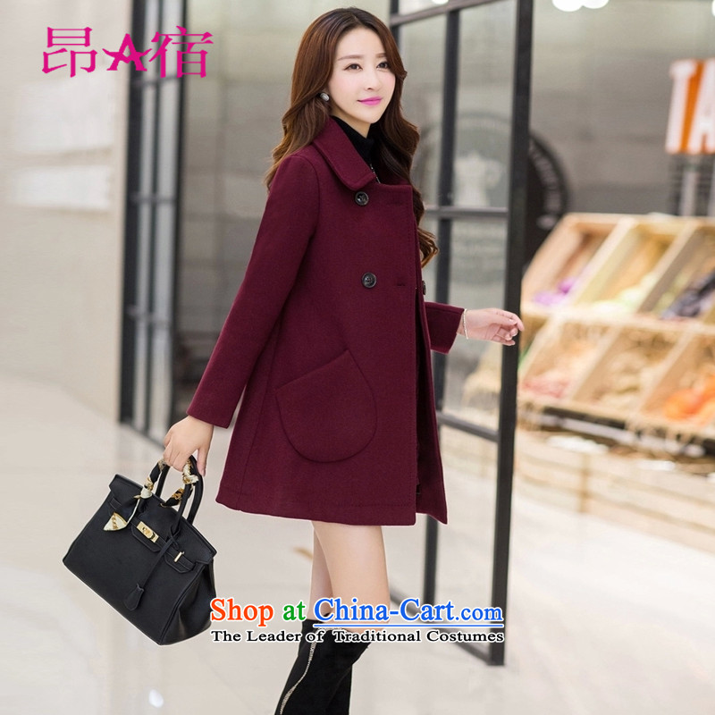 Daw Aung San Suu Kyi accommodation 2015 Fall_Winter Collections Gross Korean female coat?   in the jacket long hair? for women C150812 wine red燤